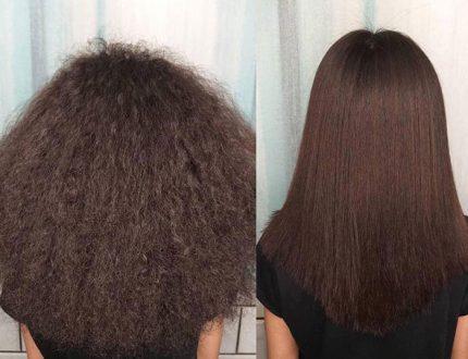 یک نمونه از کراتین مو در آرایشگاه زنانه ده ونک دزفول